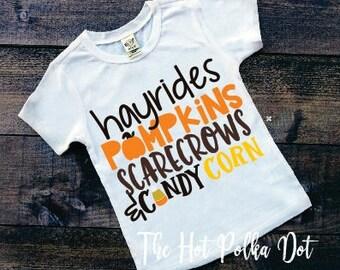 Boys Fall Shirt, Hayrides, Pumpkins, Scarecrows, & Candy Corn, Pumpkin Patch Boys Shirt or Raglan, Infant Toddler Youth Boy Holiday Shirts