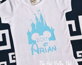 Boys Disney Castle 2017 Shirt Personalized with Name Disney Toddler Boys White T-Shirt Boy's Disney Shirt, Matching Family Shirts