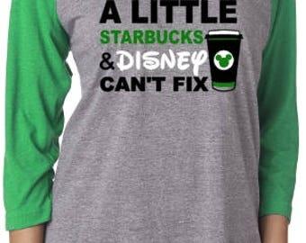 Disney Starbucks Raglan or TShirt, Women's Disney Shirt, Starbucks Disney Shirt, Disney Mom Starbucks's Raglan