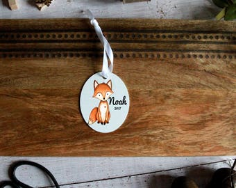 christmas ornament, 1st christmas, fox ornament, personalized ornament, fox, 1st christmas ornament, woodland ornament, child, christmas