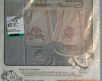 Stamped Embroidery Kit for Two Kitchen Towels, Complete Kit, NIP Berries in Baskets Vogart Crafts 8322A