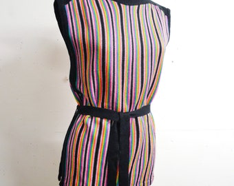 1970s Multicoloured stripe knit belted tunic top / 70s multi colour stripy pink yellow black knitted sleeveless top - S M