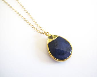 Blue Jade Quartzite Teardrop Gold Necklace-Gold Layering Necklace, Layering Jewelry, Blue Stone, Jade, Dainty Necklace