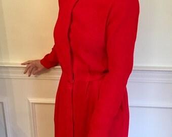 Bright Red 100% Silk 1980s Midi Dress by Liz Claiborne (Sz 10/12)