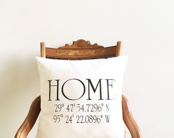 coordinates pillow cover, longitude and latitude pillow cover, wedding gift, housewarming gift, personalized pillow cover, newlywed gift