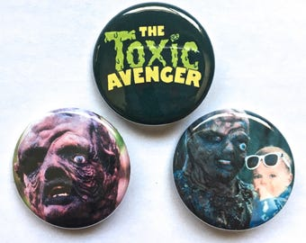 The Toxic Avenger Pin Set Pinback Button Pin Badge x3