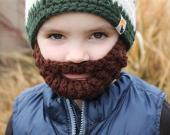 READY TO SHIP! Kids Dark Sage Bearded Beanie