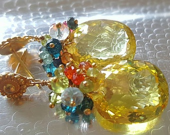 Fancy Cut Yellow Quartz with Gemstone Cluster of Colorful Sapphires on Gold Vermeil Earwires