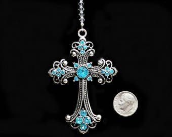 "BIG 3"" Aqua Studded Cross Car Charm Ornament, m/w Swarovski Crystal Beaded Strand Suncatcher, Pearl Place N More"