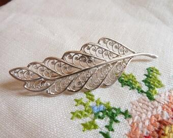 Sterling Silver Filigree Leaf Brooch Vintage Pin 925