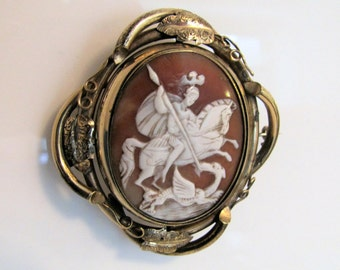Antique Victorian Gold Locket Swivel Brooch. St George & The Dragon Carved Cameo, Prince of Wales Hairwork Curls. Antique Mourning Jewelry