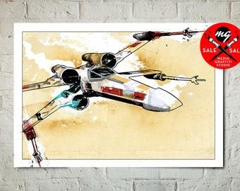 "Star Wars Art - SALE! 18""X24"" - X-Wing Fighter - Star Wars Poster, Art Print, X-Wing print, Fan Art, Star Wars Print, Star Wars Gift"