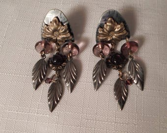 MIXED METALS EARRINGS / Brass / Silver / Flower / Leaves / Designer-Inspired / Unsigned / Modernist / Steampunk / Chic / Jewelry Accessories
