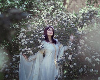 Wedding Dress Medieval Celtic gown SCA LARP viking historical bridal woman white ivory golden rustic hem