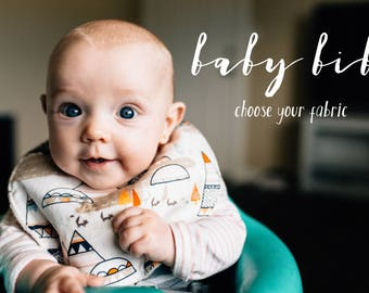 baby bib set, set of 2 bibs, choose your fabric, baby boy bib, girl baby bib, baby shower gift, set of 2 bibs
