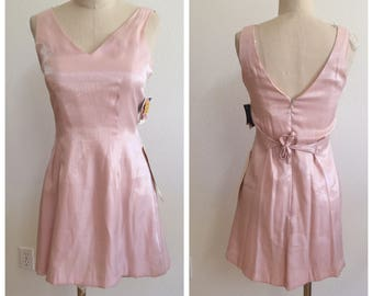 Deadstock Vintage Shimmery Pink Slip Dress- Size 6 Petite - 90's- grunge- babydoll - Made in USA - tags attached