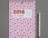 2018 Calendar - A5 Calendar - Floral Calendar - Pattern Calendar - Mini Calendar - Gift For Her - Planner - Desk Organisation - Wall Planner