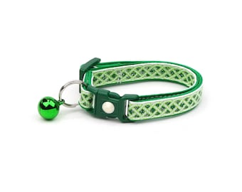 St. Patrick's Day Cat Collar - Celtic Knots on White - Small Cat / Kitten or Large Cat Collar