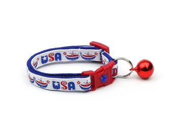 Fourth of July Cat Collar - USA Pride - Red White and Blue - American Flag - Kitten or Large Size