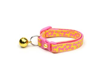 Polka Dot Cat Collar - Pink Dots on Yellow- Breakaway Cat Collar - Kitten or Large size