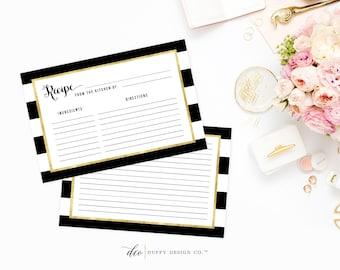 Recipe Card Printable, Printable Recipe Card, DIY Recipe Cards, 4x6 Recipe Card, Bridal Shower Recipe Card, Black Gold PDF Instant Download