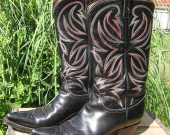 Tony Lama Cowboy Boots Black with Rainbow Stitching