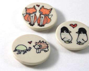 Turtle and Hedgehog Magnet Handmade Ceramic Refrigerator Magnet Woodland Animal Illustration Cute Pottery Magnets Small Gifts Under 10