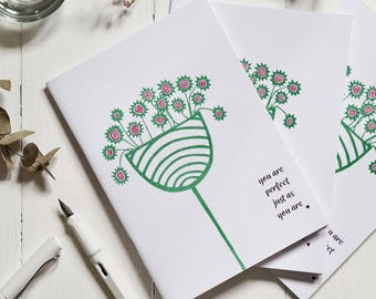 You Are Perfect Just As You Are   A5 Notebook   44 Recycled Plain Pages   sketchbook   bullet journal
