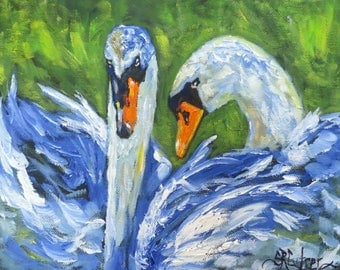 "Swans birds animal art original oil painting 8"" x 10"" black wrapped canvas Sandra R Cutrer Fine Art"