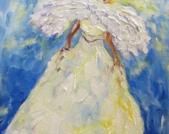 Angel cherub spiritual heaven CANVAS PRINT Giclee of original textured oil painting by Sandra Cutrer Fine Art