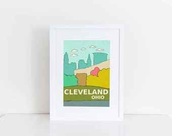 Cleveland, Ohio // Urban, Modern Skyline, City Illustration, Kids Room, Nursery Decor, Home Town Love, City Pride, Hometown, City Poster