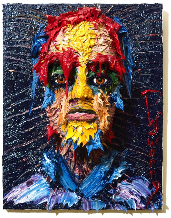 Oil Paint on Stretched Canvas of 14 by 11 by 6 in. / Original oil painting large carving art sculpture portrait abstract vintage look