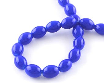 Royal Blue Oval Glass Beads 11mm x 8mm Approx 78 Pieces 1 Strand BD71