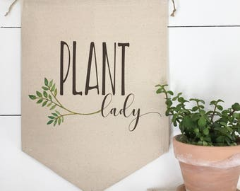 Banner - Plant Lady Wall Hanging Wall Art Farmhouse Garden Banner Wall Decor Herbs Canvas Banner Botanical Decor Garden Decor Gardening Gift