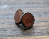 Wood Stud Earrings,  Fake Gauge Plugs, Fake Gauge, Wooden Earrings, Unisex Stud Earrings, Wood post earrings, Fake Gauge Earring, Amboyna