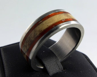 Custom Handmade Bentwood & Stainless Steel Ring - Dual Wood