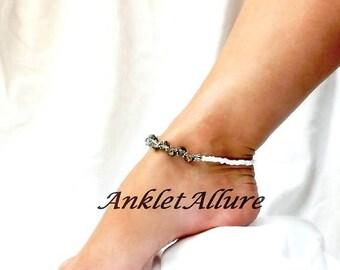 Anklet Crystal Ankle Bracelet Dark Gold Anklet White Anklet Beach Anklet