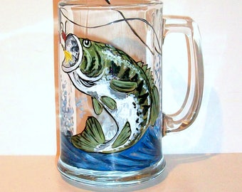 Bass Fish Jumping Choice of 1-16 oz Beer Mug & Others Fathers Day Gift for Dad Hand Painted Beer Glass Fishing Lure Spinner Waves Splashing