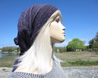 Gypsy Slouch Tam Purple Knit Hat Bohemian Clothing Slouchy Beanie  Women's Cotton Rose Rag Tie Back w/Hat hair Jewelry  A1667