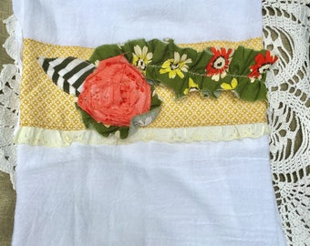 Kitchen Dish Towel, handmade, embellished, decorative, flour sack