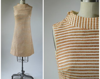 1960s Mod Shift Dress Cream White and  Metallic Gold and Orange Stripe with Quilted Collar Princess Seam Zipper Pockets Size Small