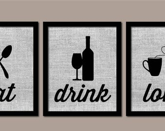 Modern Kitchen Art, Kitchen Wall Art, Burlap, Eat Drink Love, Modern Kitchen