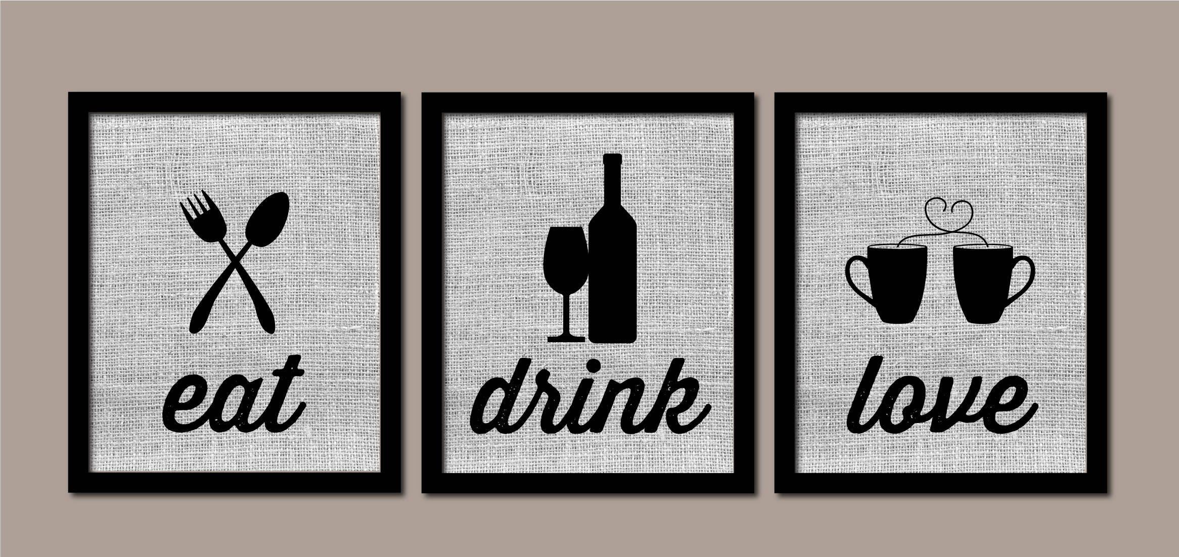 Modern Kitchen Art Kitchen Wall Art Burlap Eat Drink Love