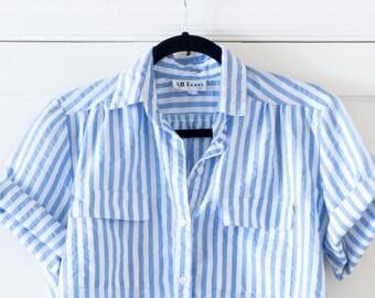 Vintage 1980's Blue Boxy Pinstriped Boating Shirt / Blouse / Preppy / Minimalistic / Short Sleeve / Size M