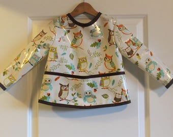Toddler Baby Long Sleeved Art Smock Painting Smock in Off White with Owls