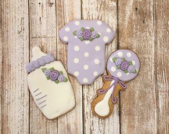 Lavender Baby Shower Favors, Baby Girl Cookie Favors   1 Dozen