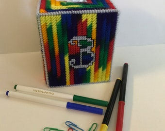 Tissue Box Cover Personalized Monogrammed Crayon Colored Needlepoint Plastic Canvas