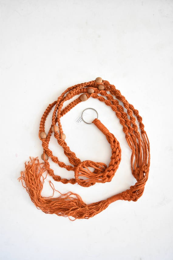 "72"" long beaded orange jute macrame planter hanger / indoor plant holder / hanging pot / bohemian"
