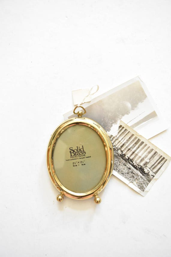 single small standing solid brass oval picture frame