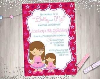 Dolly and Me birthday party invitation invite birthday girl dolly and me tea party printable birthday invitation
